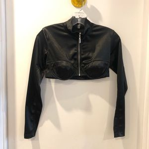 Crop top zipper urban outfitters black from under